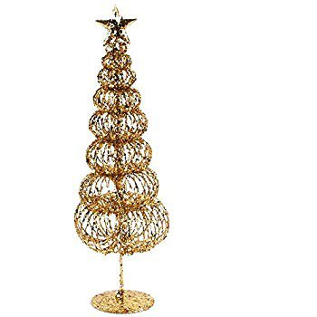 Amazon.com: Juvale Pack of 2 Gold Christmas Trees - Mini Tree - Christmas Miniature Tabletop Decoration, 10.5 x 3 x 3 Inches: Home & Kitchen