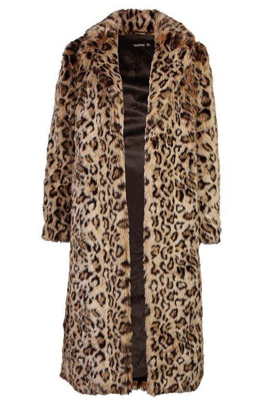 Leopard Faux Fur Longline Coat | Boohoo brown