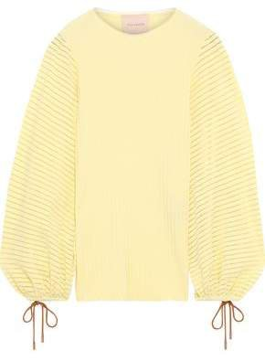 Open Knit-trimmed Ribbed-knit Top