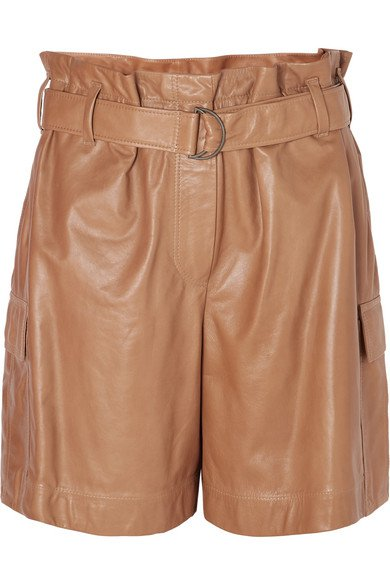 Brunello Cucinelli | Belted leather shorts | NET-A-PORTER.COM