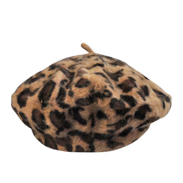 Woolen Leopard Beret