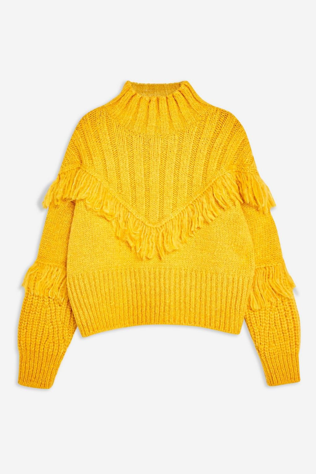 Fringe Funnel Neck Jumper - Sweaters & Knits - Clothing - Topshop USA