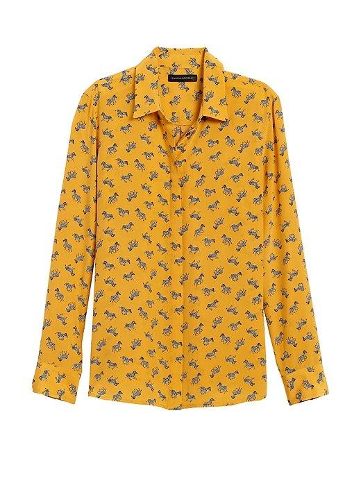 Dillon Classic-Fit Washable Silk Shirt   Banana Republic yellow