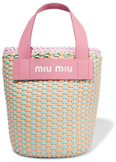 Leather-trimmed Faux Leather Woven Tote - Pink