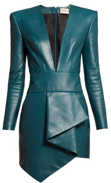 Plunge Neckline Draped Leather Dress - Womens - Blue