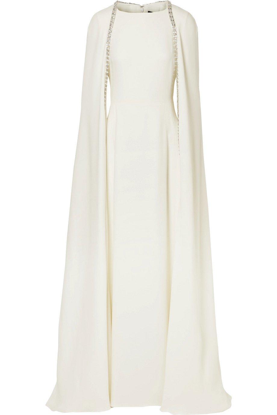 Reem Acra | Crystal-embellished cape-effect silk-crepe gown | NET-A-PORTER.COM