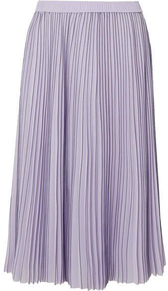 Pleated Striped Georgette Midi Skirt - Lilac