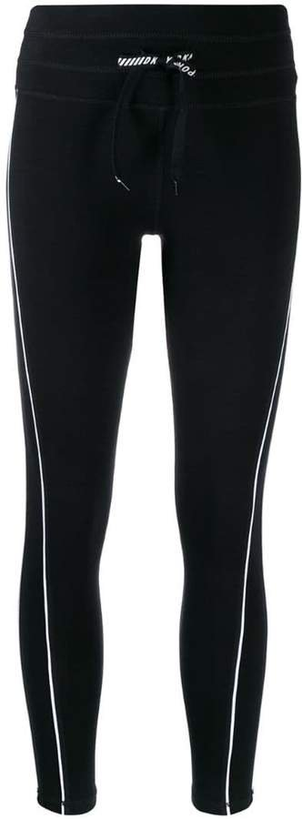 contrast piped trim leggings