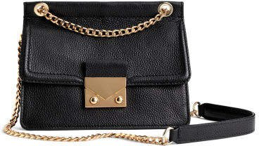 Leather Shoulder Bag - Black