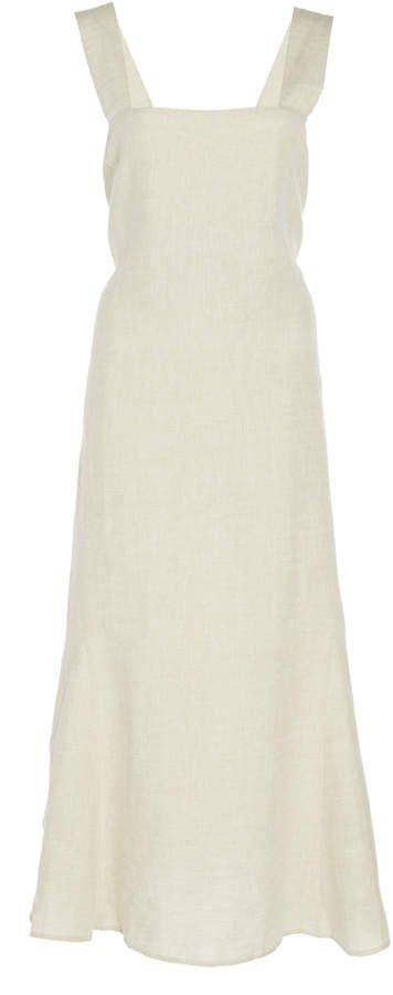 White Capri Sand Linen Midi Dress