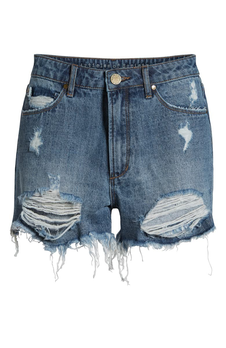Articles of Society Meredith Ripped High Waist Denim Shorts (Freeport) Blue