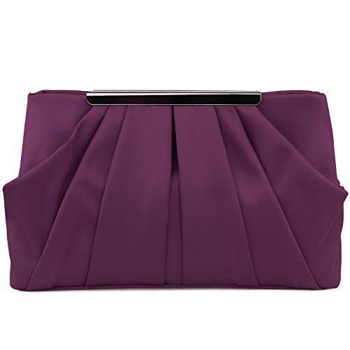 Womens Pleated Satin Evening Handbag Clutch With Detachable Chain Strap Wedding Cocktail Party Bag: Handbags: Amazon.com