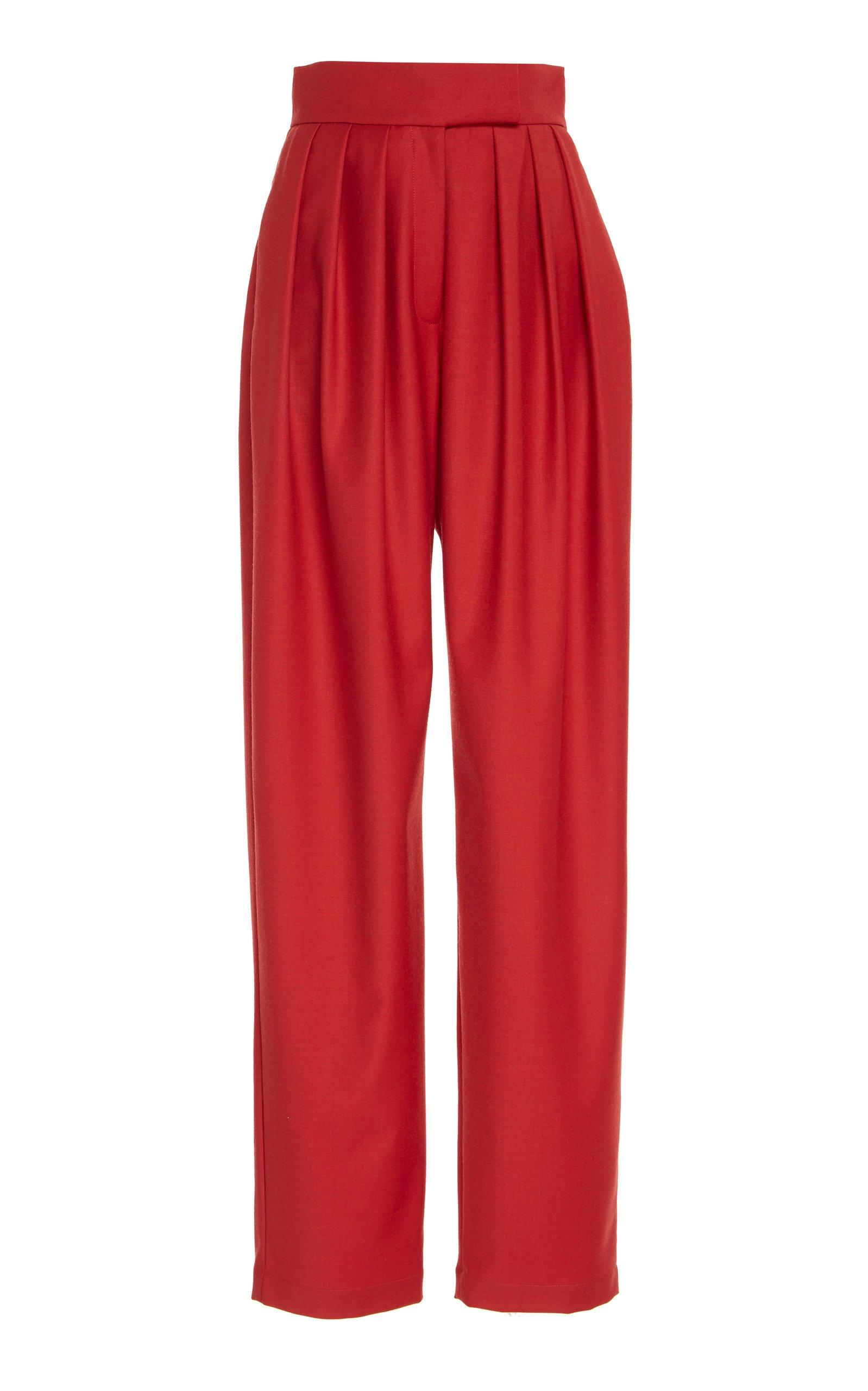 MATÉRIEL High Waisted Wool-Blend Pleated Pants