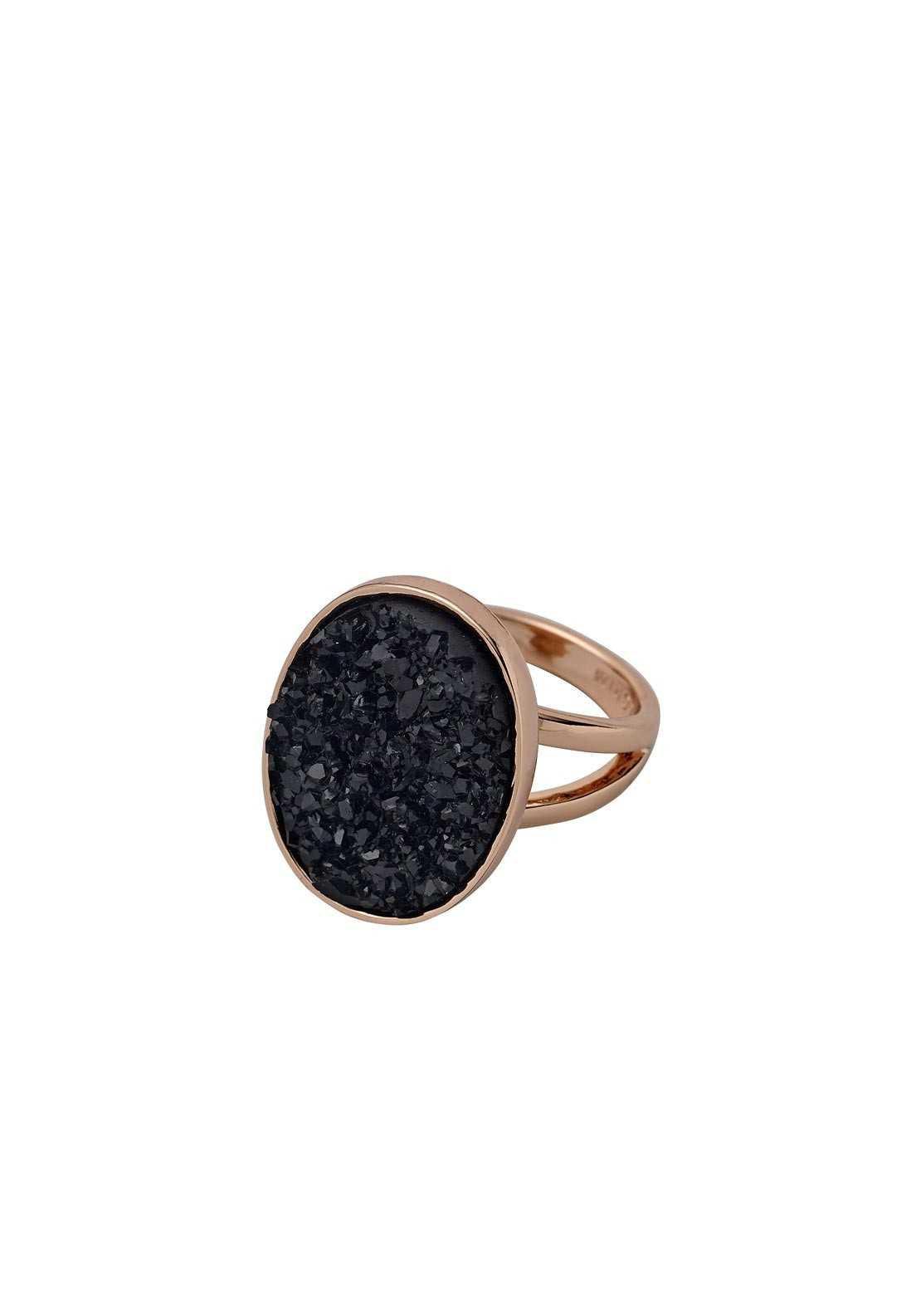 Pilgrim Adjustable Rock Ring, Rose Gold/Black | McElhinneys