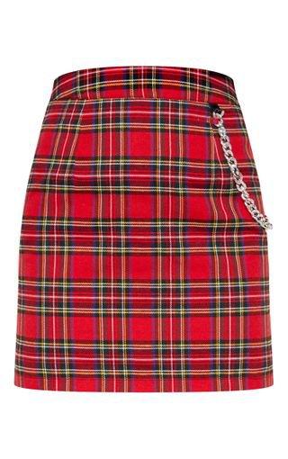 Red Tartan Check Chain Detail Mini Skirt | PrettyLittleThing