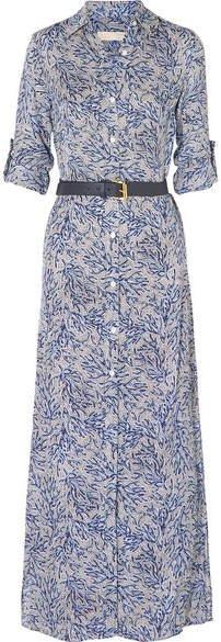 Coral Mosaic Printed Silk-georgette Maxi Dress - Navy