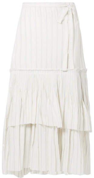 Ortensia Ruffled Striped Cotton-voile Wrap Maxi Skirt - Off-white
