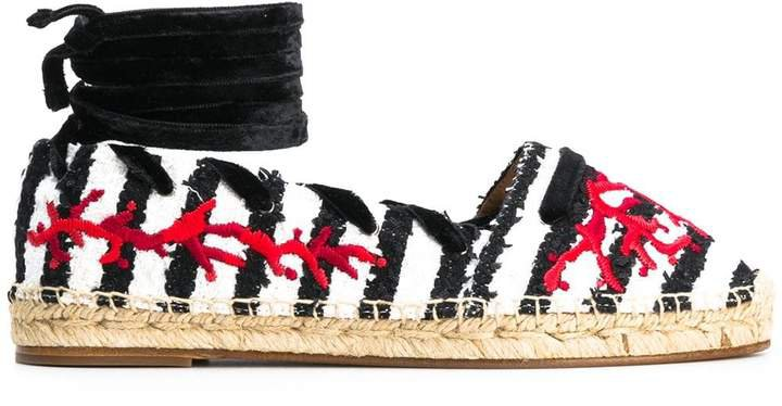 striped contrast embroidered espadrilles