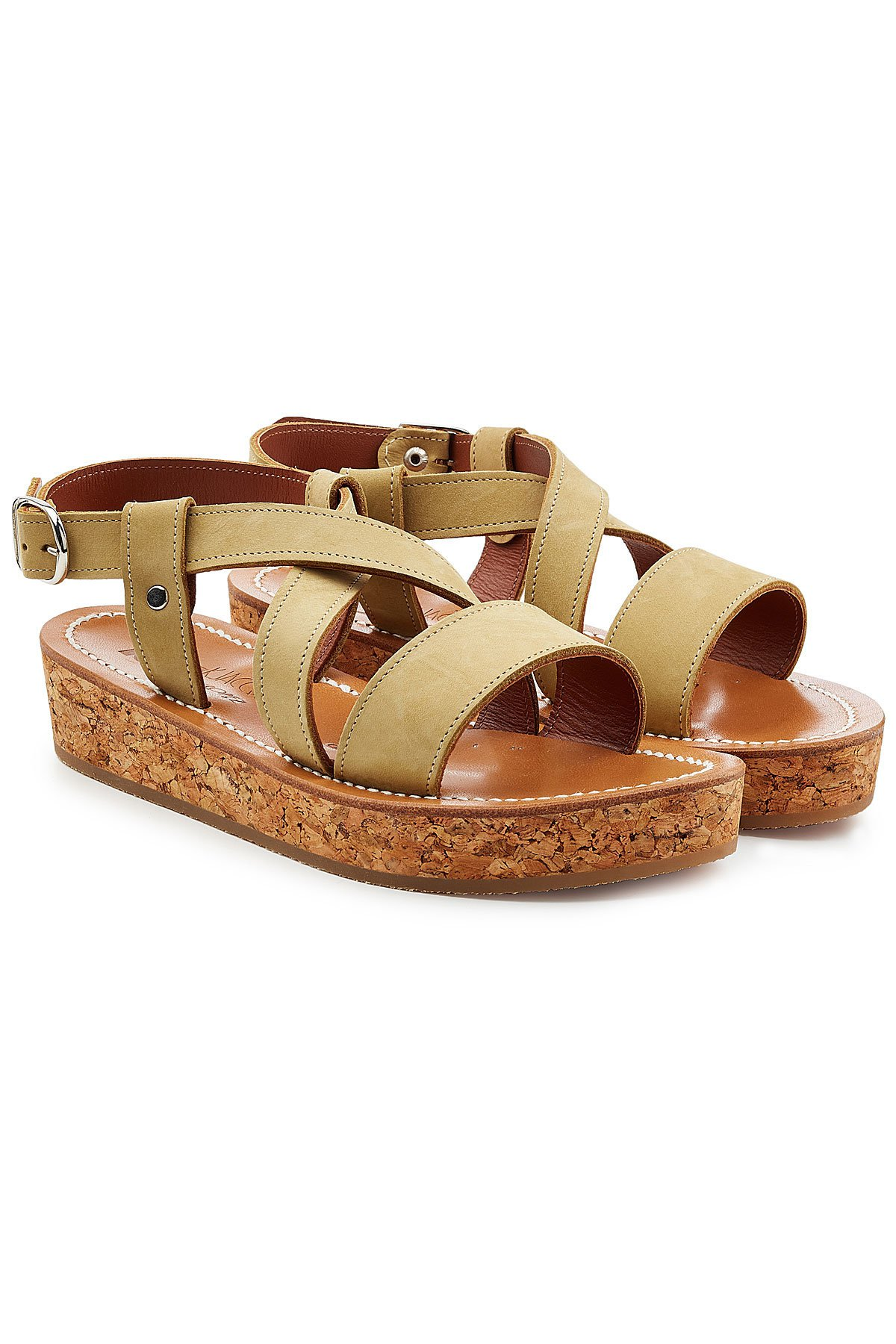 Leather Sandals with Espadrille Wedge Gr. IT 37