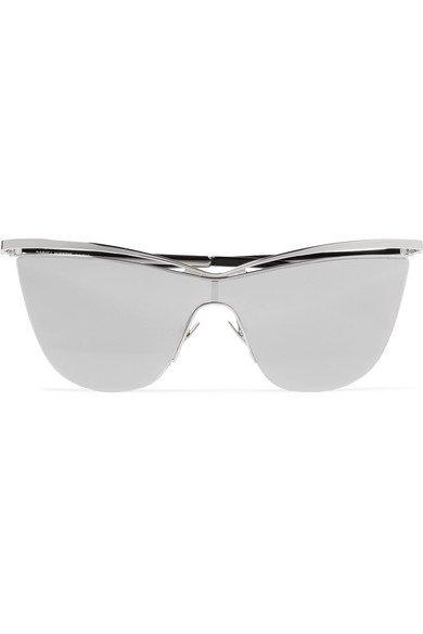 Saint Laurent | Cat-eye silver-tone and acetate mirrored sunglasses | NET-A-PORTER.COM