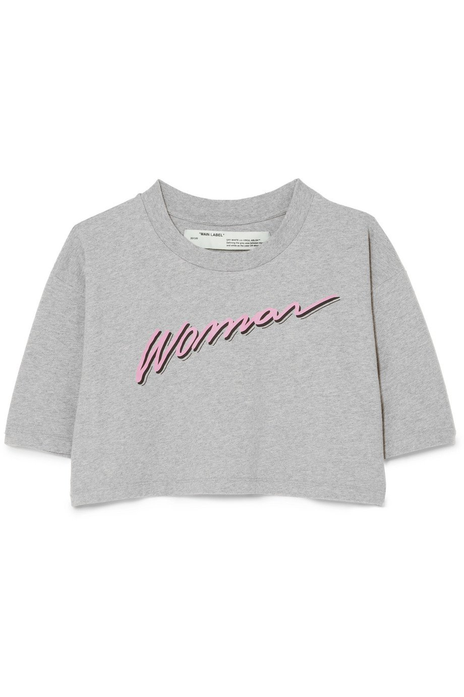 Off-White | International Women's Day cropped printed cotton-jersey T-shirt | NET-A-PORTER.COM