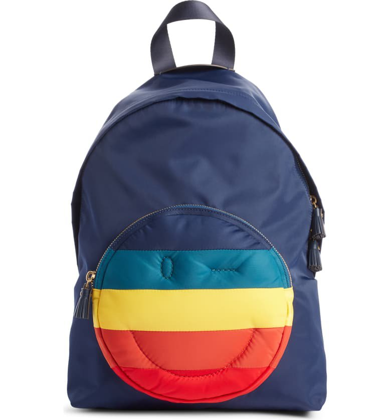 Anya Hindmarch Rainbow Chubby Wink Nylon Backpack Blue