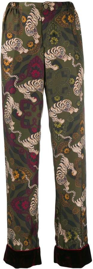 tiger-print trousers