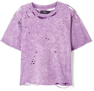 Cropped Distressed Cotton-jersey T-shirt - Purple