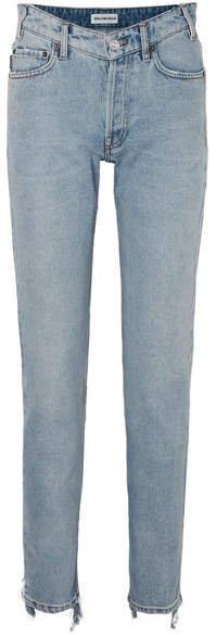Distressed High-rise Straight-leg Jeans - Blue