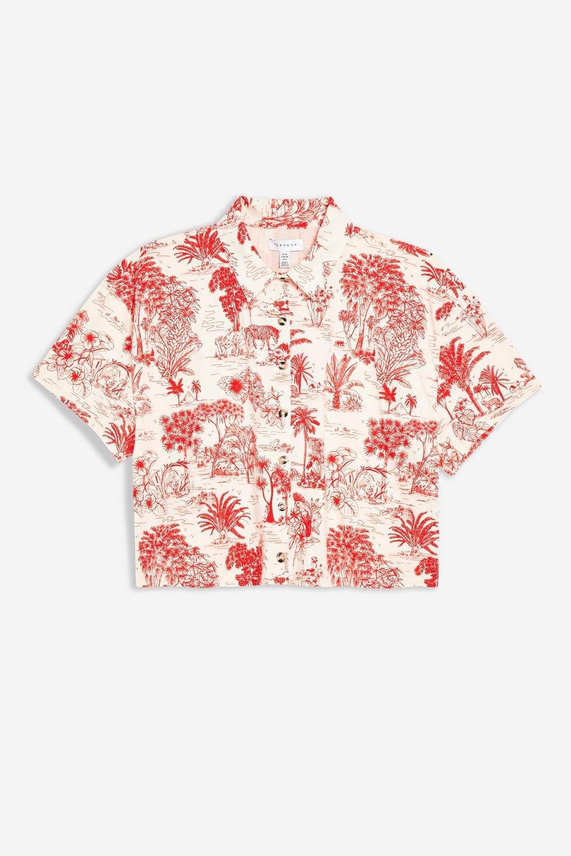 Red Jungle Print Boxy Polo - Shirts & Blouses - Clothing - Topshop USA