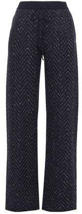 Herringbone Wool And Cashmere-blend Wide-leg Pants