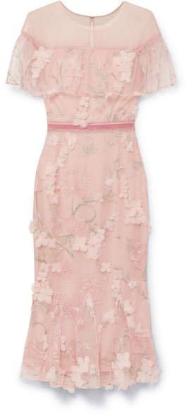Velvet-trimmed Appliquéd Embroidered Tulle Midi Dress - Blush
