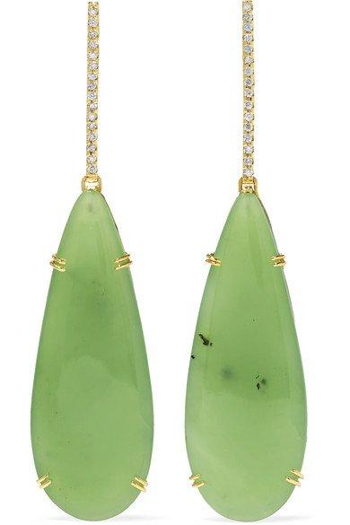 Kimberly McDonald | 18-karat green and white gold, nephrite and diamond earrings | NET-A-PORTER.COM
