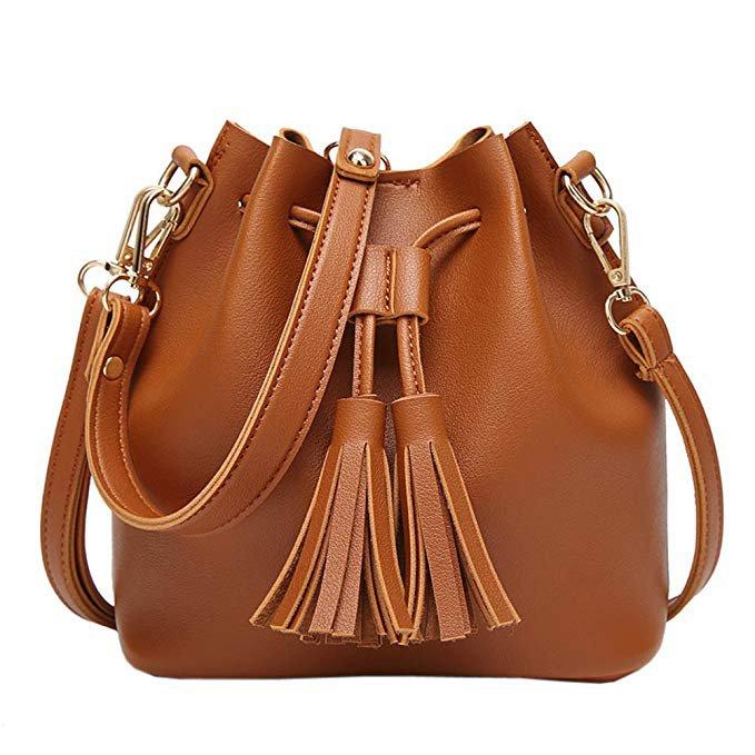 Amazon.com: EasyHui Womens Crossbody Bag Grils Fashion PU Leather Tassel Small Travel Purse Shoulder Tote Handbag Brown: Gateway