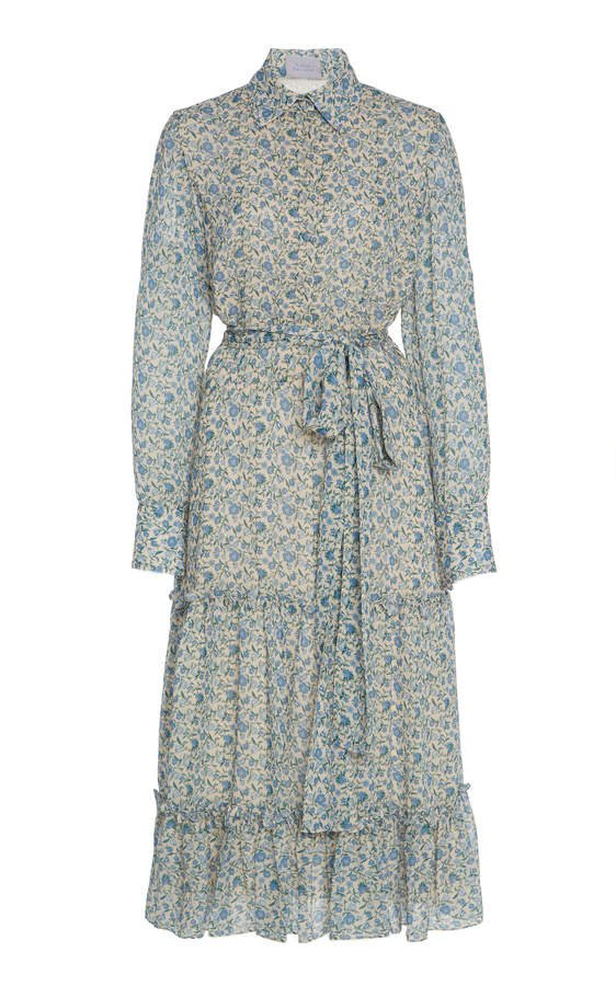 Micro Floral Midi Shirt Dress