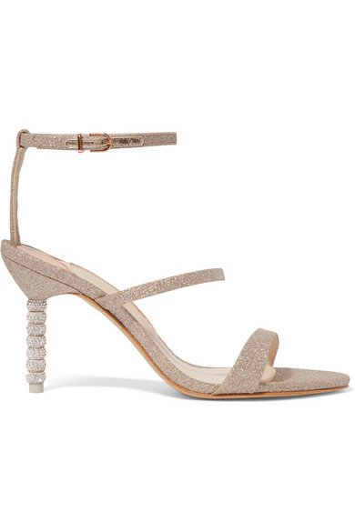 Sophia Webster | Rosalind crystal-embellished glittered leather sandals | NET-A-PORTER.COM