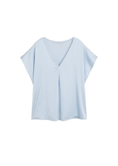 MANGO Satin v-neck t-shirt