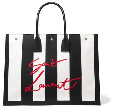 Noe Leather-trimmed Embroidered Striped Canvas Tote - Black