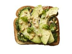 (27) Pinterest - Pesto-Avocado Toast: Spread 4 slices toasted white bread with pesto. Top with sliced avocado; drizzle with olive oil and lemon | food to draw