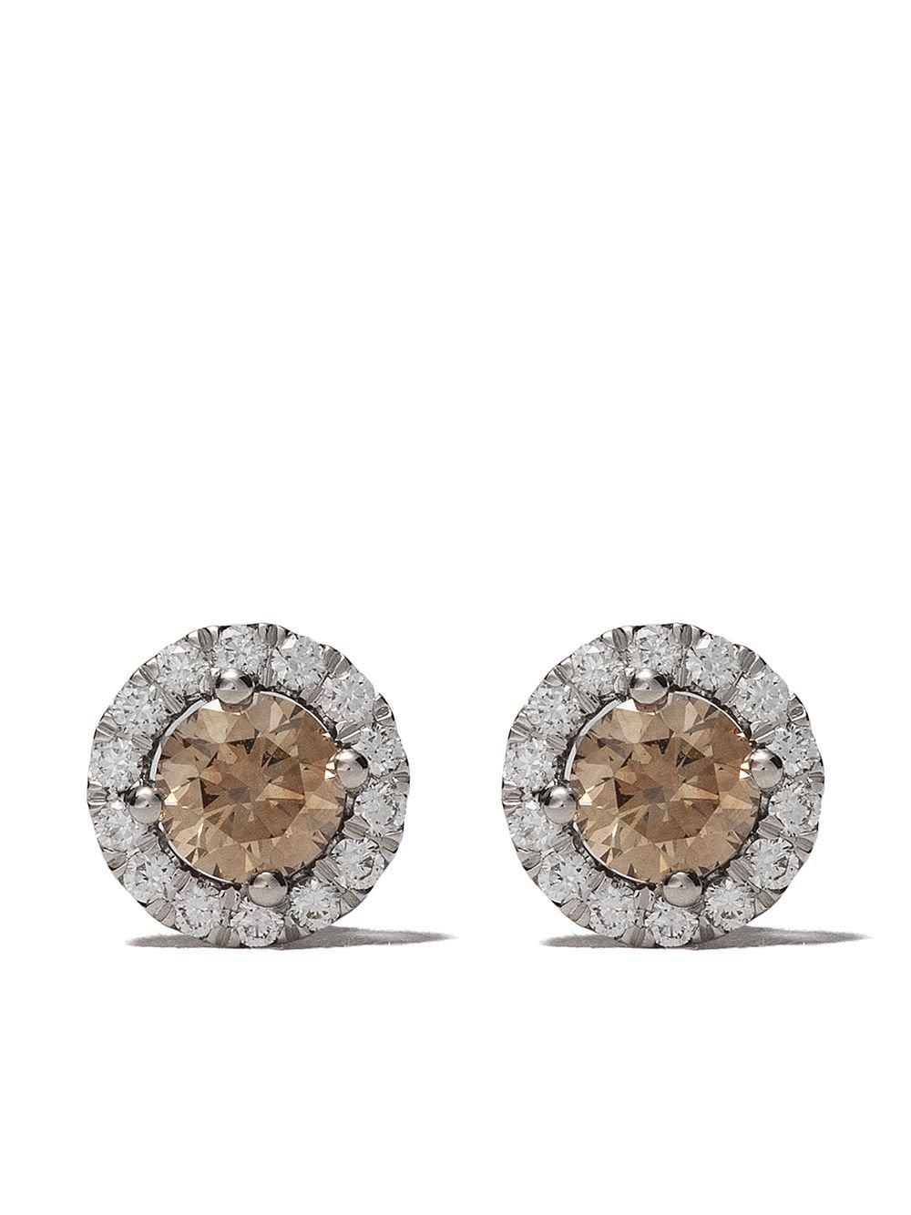 18kt White Gold De Beers Aura Fancy Coloured Diamond Stud Earrings | Farfetch.com