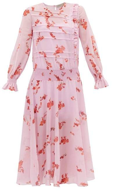 Gilda Shirred Floral Print Crepe Dress - Womens - Pink Multi
