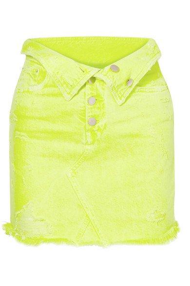AMIRI | Fold-over distressed denim mini skirt | NET-A-PORTER.COM