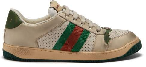 Screener Leather Low Top Trainers - Womens - Ivory Multi