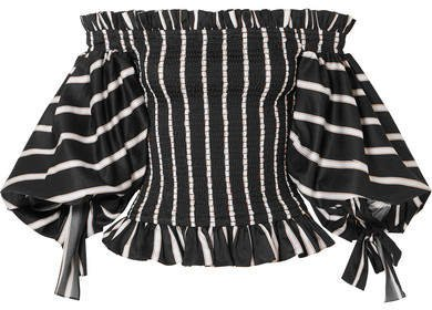 Coco Off-the-shoulder Shirred Striped Cotton-jacquard Top - Black