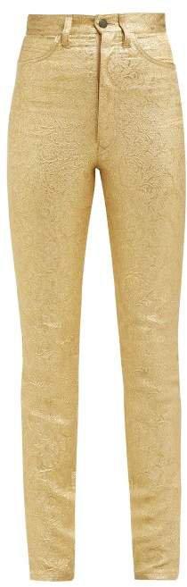 Metallic Floral Brocade Cotton Blend Trousers - Womens - Gold