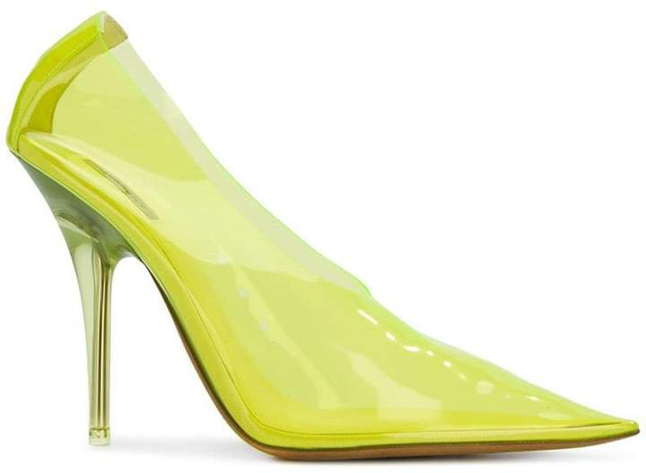 clear pointed pumps