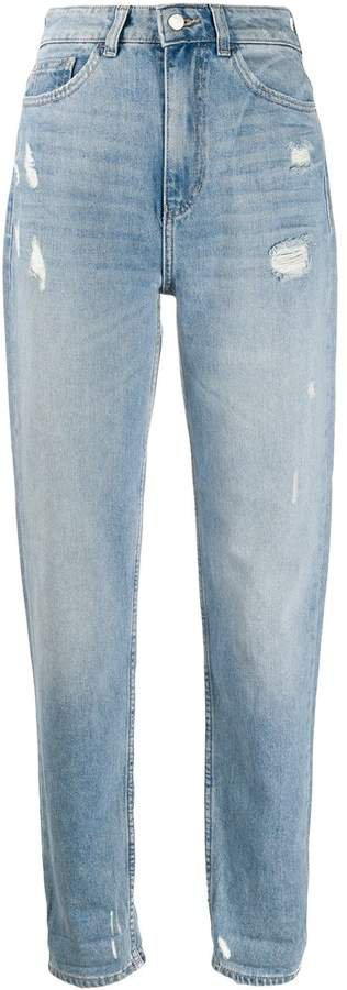 high-rise tapered jeans