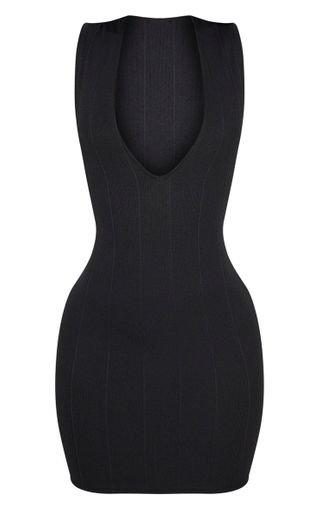 Shape Black Bandage Plunge Bodycon Dress | PrettyLittleThing