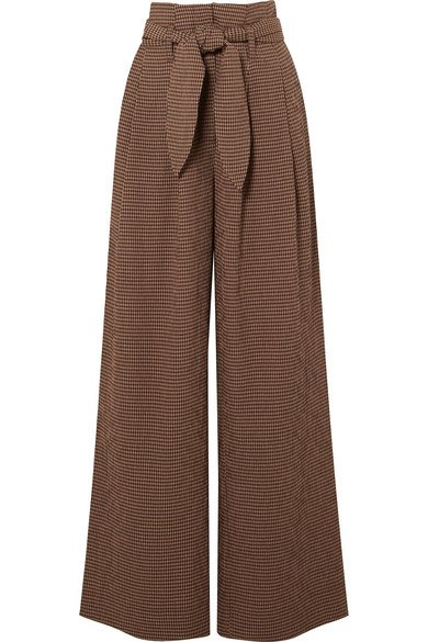 Nanushka | Nevada gingham woven wide-leg pants | NET-A-PORTER.COM