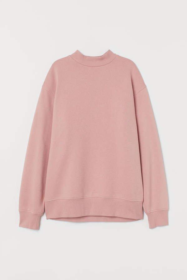 Mock-turtleneck Sweatshirt - Pink